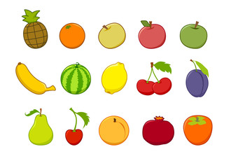 vector set of isolated flat cute fruit and berries seamless