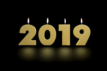 2019 New Year's Golden Lighten Up Candles 3D Render Illustration Isolated on Black Background With Floor Reflexion