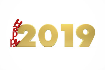 New Year's Happy 2019 - Golden Figures and Red Letters Collapsing - 3D Render Illustration Isolated on White Background