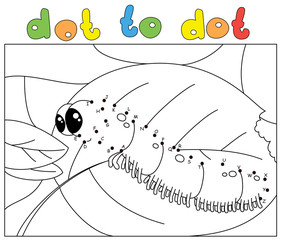 Funny caterpillar wants to eat a fresh leaf. Coloring book and dot to dot game for kids