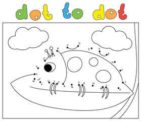 Cartoon ladybug sitting on a leaf high in the clouds. Coloring book and dot to dot game for kids