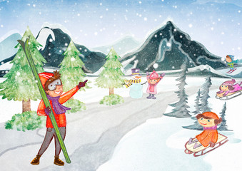 Winter time. Winter sports concept illustration