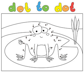 Cartoon embarrassed frog and fly. Dot to dot game for kids