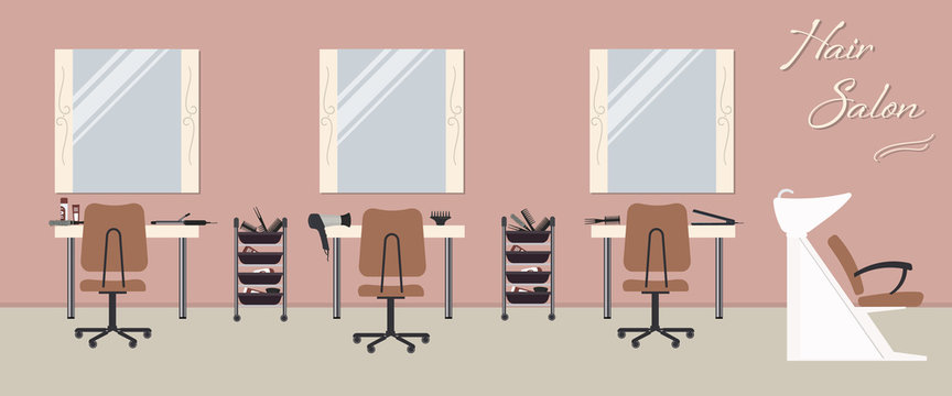 "Interior of a hair salon in a pink color. Beauty salon. There are tables, chairs, a bath for washing the hair, mirrors, hair dryer in the image. There is also text ""Hair Salon"" on the wall. Vector"