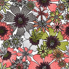 Seamless flower pattern. Decorative flowers drawn by hand. Print for textiles. Vector illustration.