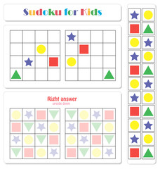 Sudoku for kids with colorful geometric figures