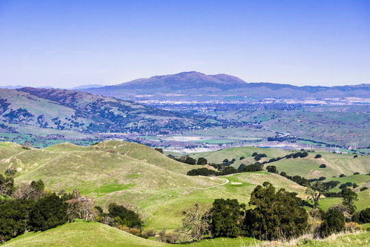 Mt Diablo and Livermore valley as seen from the Ohlone Wilderness trail, on the way to Mission Peak, Alameda County, east San Francisco bay area, California