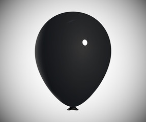 Realistic Black Air Balloon Vector Illustration