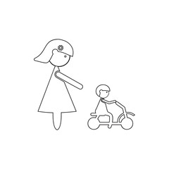 mother watches the child on a bicycle icon. Element of Family for mobile concept and web apps icon. Thin line icon for website design and development, app development