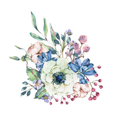 Decorative vintage watercolor natural greeting card with anemone, wildflowers, cotton
