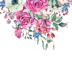 Decorative vintage watercolor pink roses, Nature greeting card with flowers