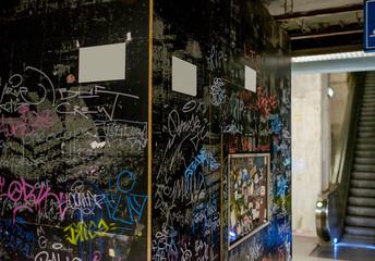 Black wall painted graffiti