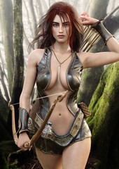 Portrait of a seductive fantasy redhead female archer with bow and arrow drawing her weapon as she approaches the camera . 3d rendering