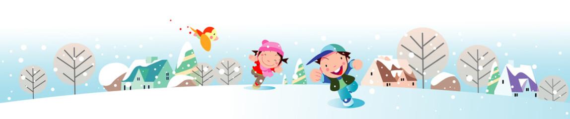 雪の中で遊ぶ子供の風景