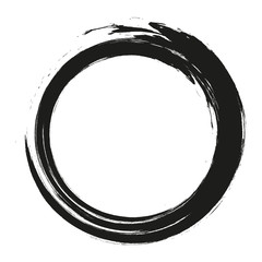 vector brush strokes circles of paint on white background. Ink hand drawn paint brush circle. Logo, label design element vector illustration. Black abstract circle. Frame