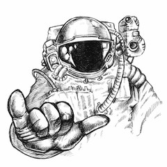 Hand drawn fantastic astronaut or cosmonaut in helmet and spacesuit with hand showing bulging thumb and little finger gesture, explore and cosmos adventure concept