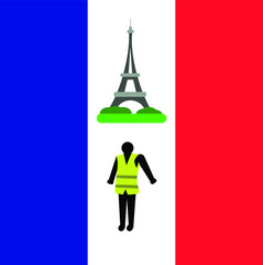 People in yellow vests.  Flat design. Demonstration of yellow vests against a new increase in taxes imposed by the French government. Illustration.