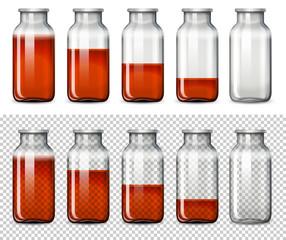 Set of red liquid in bottle