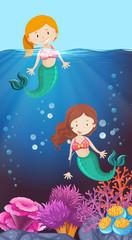 Happy mermaid in the ocean