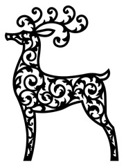 Deer vector laser cut template. Cutout pattern of Christmas or New Year decoration. Background illustrationof reindeer for greeting card, banner and other holiday media.