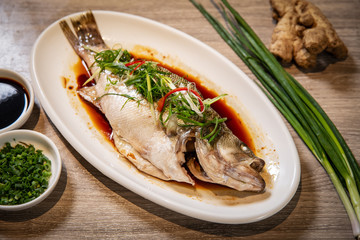 Foto op Canvas Vis Chinese steamed fish