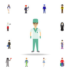 surgeon cartoon icon. Detailed set of color profession icons. Premium graphic design. One of the collection icons for websites, web design, mobile app