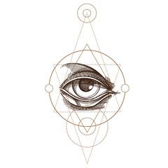 Hand drawn sketch Eye of Providence. All seeing eye. Masonic symbol. Alchemy, religion, spirituality, occultism. Monochrome vector illustration.