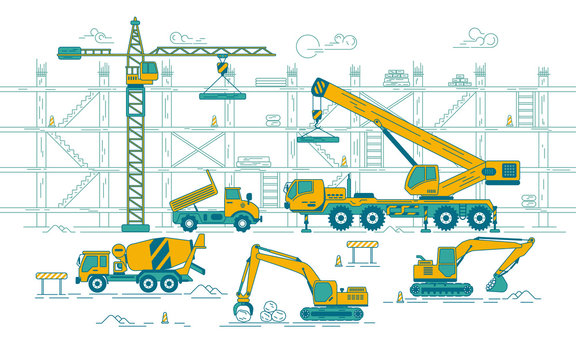 graphic of excavator and truck and crane in construction site, concept of construction industry