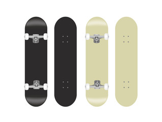 skateboard vector template illustration set (black/white)