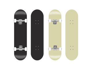 skateboard vector template illustration set (black/white)