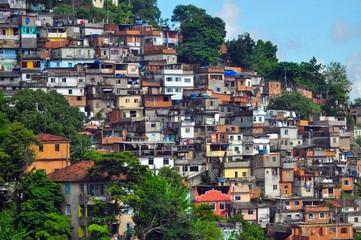 A colorful favela overlooking the Atlantic ocean in Rio de Janeiro
