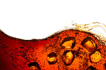 Fototapeta cola soda with sparkling bubbles isolated on white