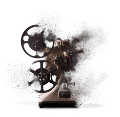 Old film projector exploding