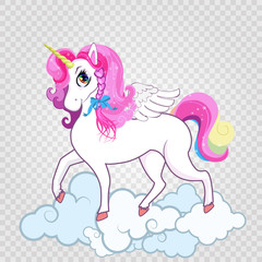 Cute white unicorn on clouds isolated on transparent background.