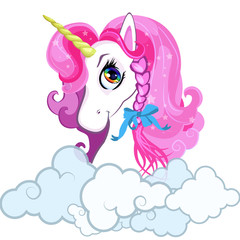 Cartoon white pony unicorn head with pink hair portrait isolated on white .