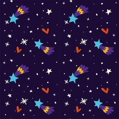 Starry night at winter sky merry Christmas holiday New Years eve vector