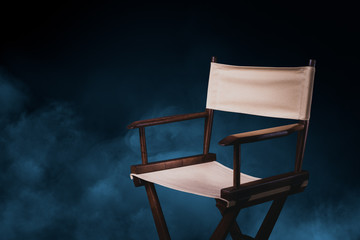 retro director chair on gray