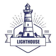 Lighthouse monochrome isolated icon striped beacon or searchlight tower