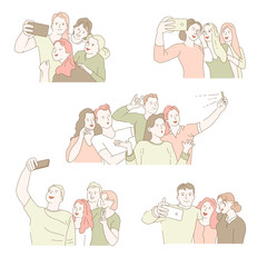 Group selfie isolated icons men and women taking photo