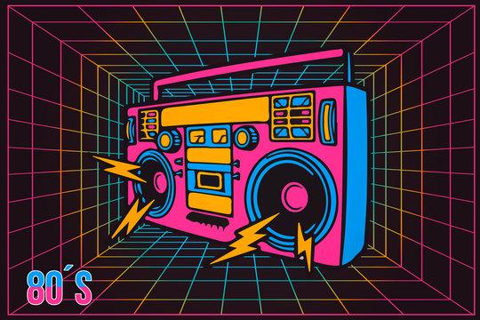 Retro Pop Party Eighties 80's Party Recorder, neon cartoon style