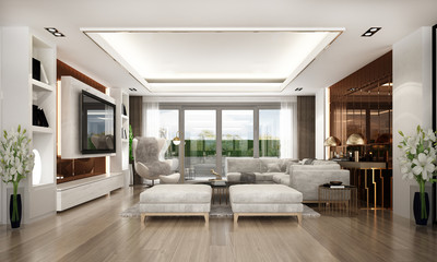 Modern luxury living room interior design and copper texture wall pattern background