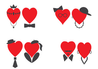 Set of pairs of male and female hearts