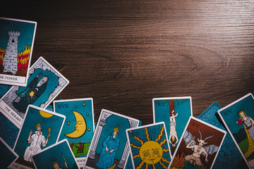 Tarot cards on a wooden background
