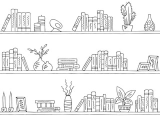 Shelves graphic seamless pattern background sketch illustration vector