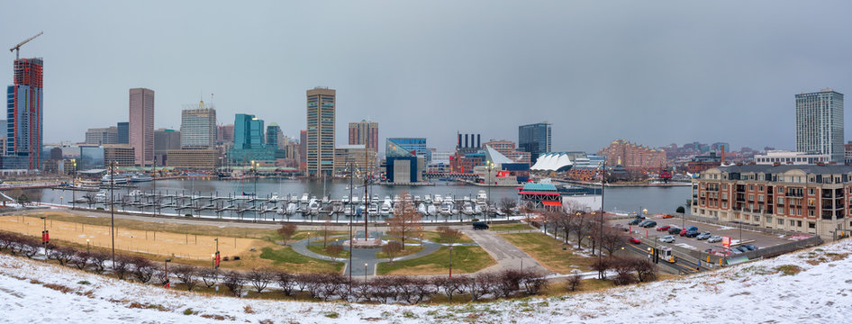 View on Baltimore skyline and Inner Harbor from Federal Hill, Maryland