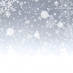Blurred Christmas background with snowflakes and blue sky. Vector