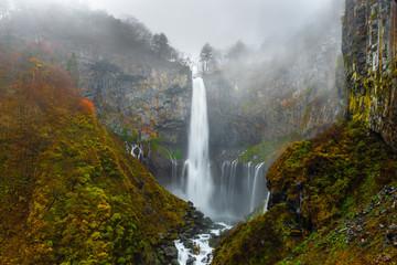 Fototapeten Wasserfalle beautiful landscape with waterfall Kegon, Nikko, Japan, autumn mystical background