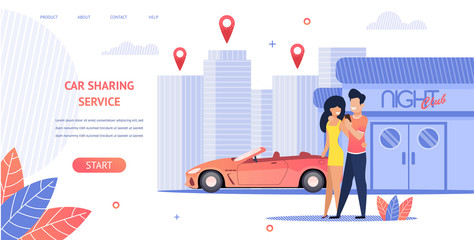 Banner Illustration Loving Couple Rent Cabrio Car
