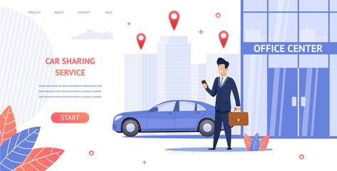 Banner Illustration Renting Car to Office Center