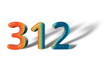 3D Number 312 three hundred twelve lively colours